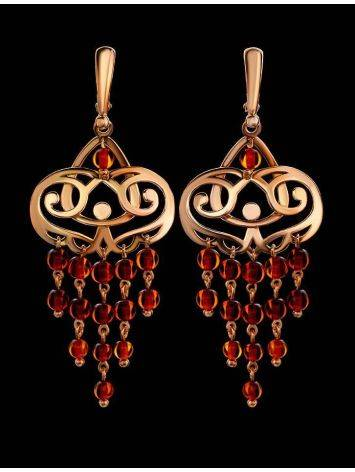 Cherry Amber Chandelier Earrings In Gold-Plated Silver The Siesta, image , picture 2