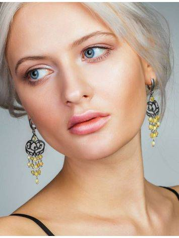 Honey Amber Chandelier Earrings In Gold-Plated Silver The Siesta, image , picture 4