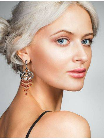 Cherry Amber Chandelier Earrings In Gold-Plated Silver The Siesta, image , picture 4