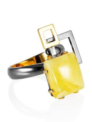 Extraordinary Silver Adjustable Ring With Amber The Picasso, Ring Size: Adjustable, image
