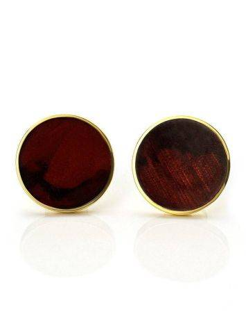 Round Gold Plated Silver Amber Studs The Monaco, image