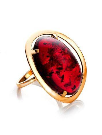 Bright Red Amber Cocktail Ring The Elegy, Ring Size: 11 / 20.5, image