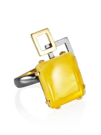 Geometric Adjustable Silver Ring With Natural Amber The Picasso, Ring Size: Adjustable, image