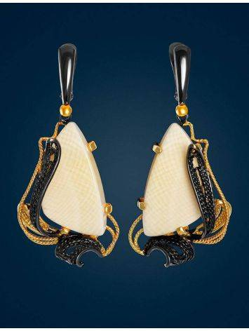 Stunning  Gold-Plated Dangle Earrings With Mammoth Ivory The Era, image , picture 2