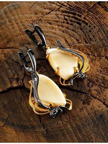 Stunning  Gold-Plated Dangle Earrings With Mammoth Ivory The Era, image , picture 3