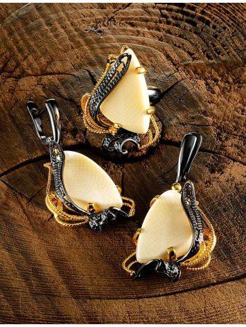Stunning  Gold-Plated Dangle Earrings With Mammoth Ivory The Era, image , picture 4