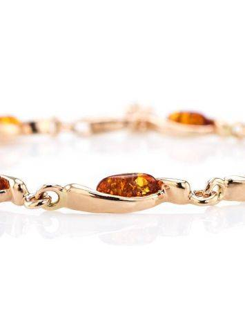 Gold Plated Silver Link Bracelet With Amber The Liana, image , picture 4