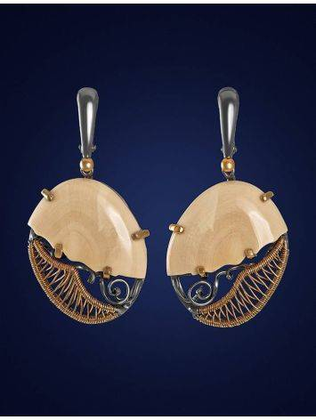Drop Gold-Plated Earrings With Mammoth Tusk The Era, image , picture 3