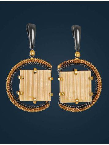 Square Cut Mammoth Tusk Earrings In Gold-Plated Silver The Era, image , picture 3