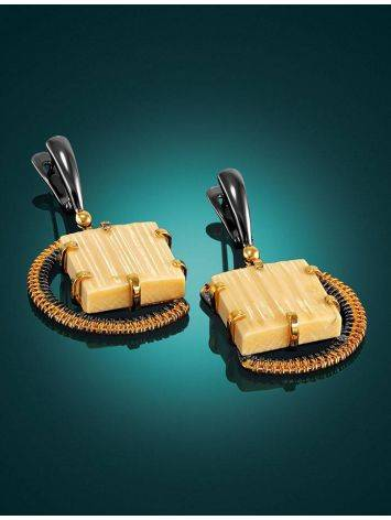 Square Cut Mammoth Tusk Earrings In Gold-Plated Silver The Era, image , picture 2