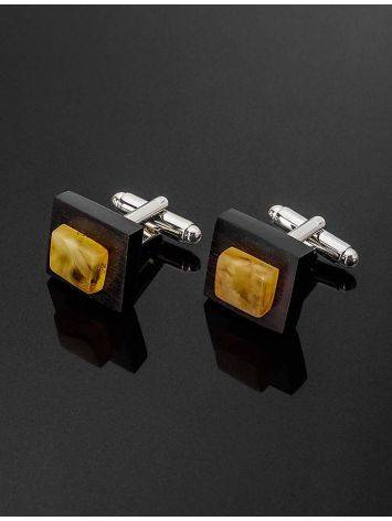 Geometric Wooden Cufflinks With Amber The Indonesia, image , picture 2
