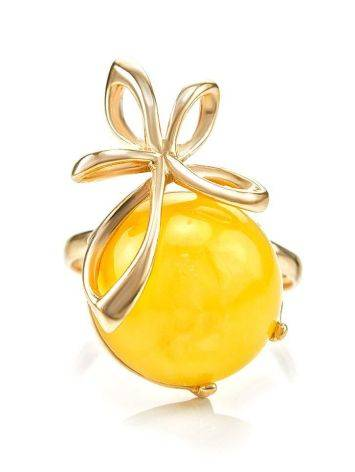 Gold Plated Silver Ring With Honey Amber The Cherry, Ring Size: 6 / 16.5, image , picture 3