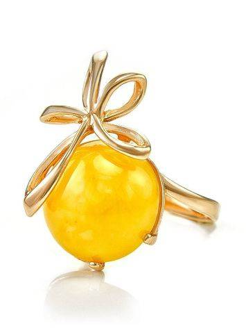 Gold Plated Silver Ring With Honey Amber The Cherry, Ring Size: 6 / 16.5, image , picture 4