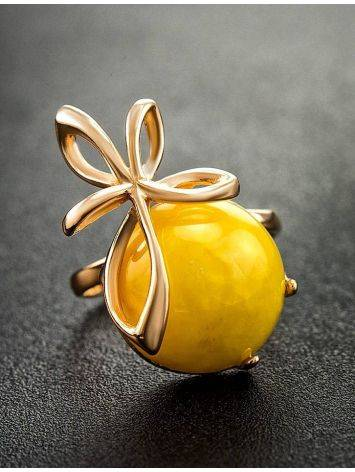 Gold Plated Silver Ring With Honey Amber The Cherry, Ring Size: 6 / 16.5, image , picture 2