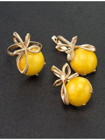 Gold Plated Silver Ring With Honey Amber The Cherry, Ring Size: 6 / 16.5, image , picture 5