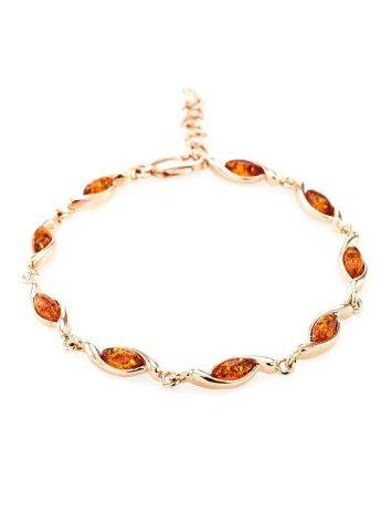 Gold Plated Silver Link Bracelet With Amber The Liana, image