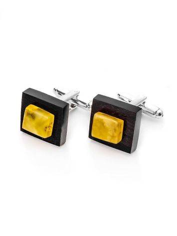 Geometric Wooden Cufflinks With Amber The Indonesia, image