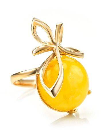 Gold Plated Silver Ring With Honey Amber The Cherry, Ring Size: 6 / 16.5, image