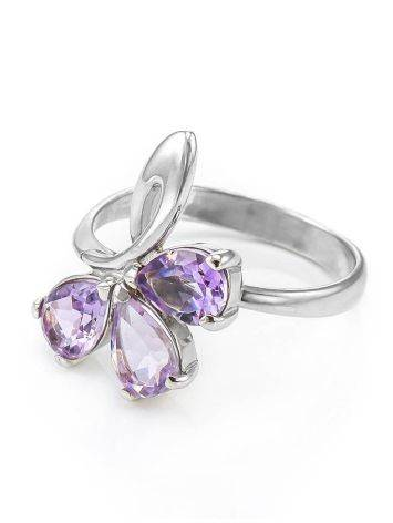 Bright Amethyst Silver Ring The Flora, Ring Size: 5.5 / 16, image , picture 5