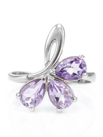 Bright Amethyst Silver Ring The Flora, Ring Size: 5.5 / 16, image , picture 3