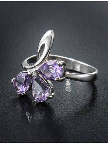 Bright Amethyst Silver Ring The Flora, Ring Size: 5.5 / 16, image , picture 2