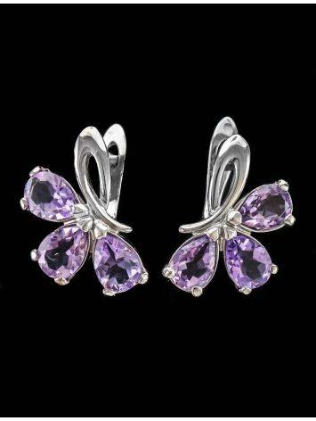 Silver Earrings With Amethyst The Flora, image , picture 3