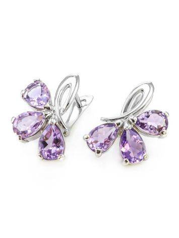 Silver Earrings With Amethyst The Flora, image , picture 4
