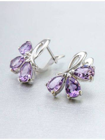 Silver Earrings With Amethyst The Flora, image , picture 5