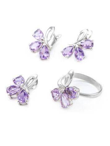 Bright Amethyst Silver Ring The Flora, Ring Size: 5.5 / 16, image , picture 6