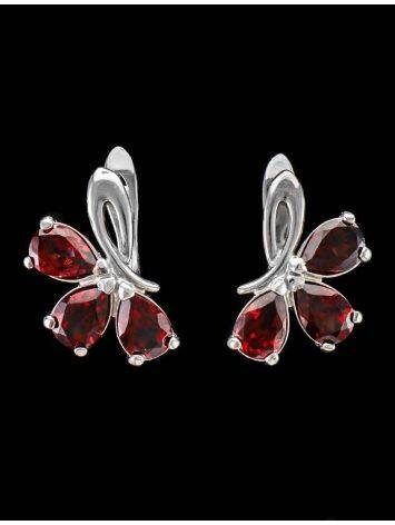 Chic Silver Earrings With Garnet The Flora, image , picture 4