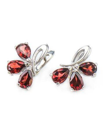 Chic Silver Earrings With Garnet The Flora, image , picture 2