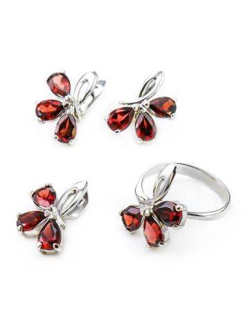 Chic Silver Earrings With Garnet The Flora, image , picture 5