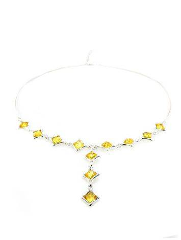Gorgeous Natural Amber Necklace In Sterling Silver, image , picture 3