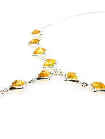 Gorgeous Natural Amber Necklace In Sterling Silver, image , picture 2