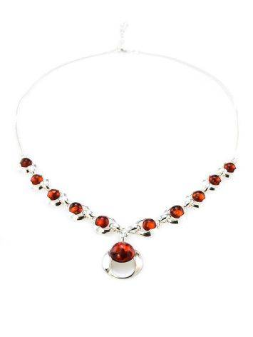 Cognac Amber Necklace In Sterling Silver The Orion, image , picture 3