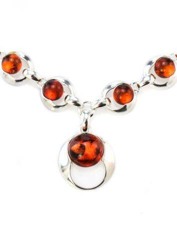 Cognac Amber Necklace In Sterling Silver The Orion, image , picture 2