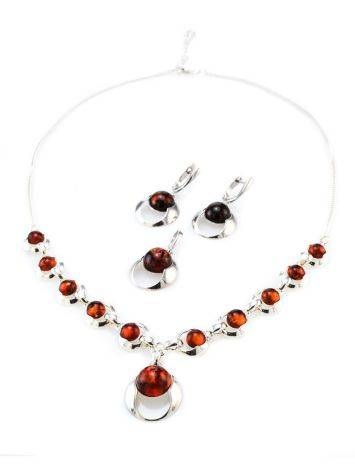 Cognac Amber Necklace In Sterling Silver The Orion, image , picture 6