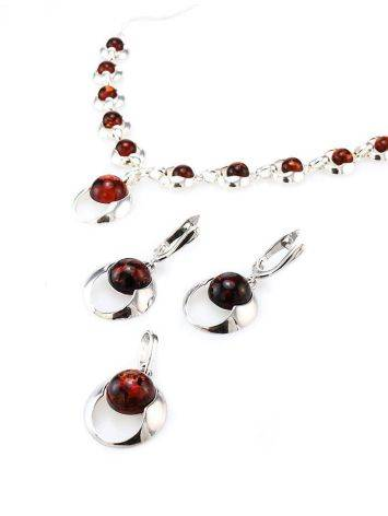 Cognac Amber Necklace In Sterling Silver The Orion, image , picture 7