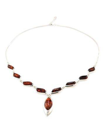 Wonderful Silver Necklace With Cognac Amber The Taurus, image , picture 4