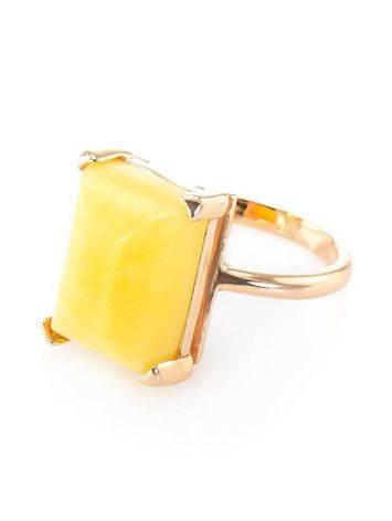 Geometric Gold Plated Silver Ring With Honey Amber Centerstone The Etude, Ring Size: 7 / 17.5, image , picture 3