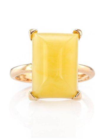 Geometric Gold Plated Silver Ring With Honey Amber Centerstone The Etude, Ring Size: 7 / 17.5, image , picture 2