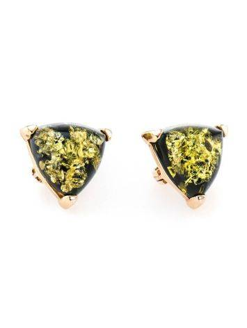 Casual Style Gold Plated Silver Earrings With Green Amber The Etude, image , picture 4