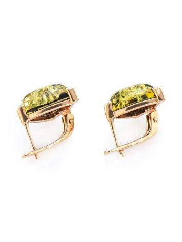 Casual Style Gold Plated Silver Earrings With Green Amber The Etude, image , picture 5