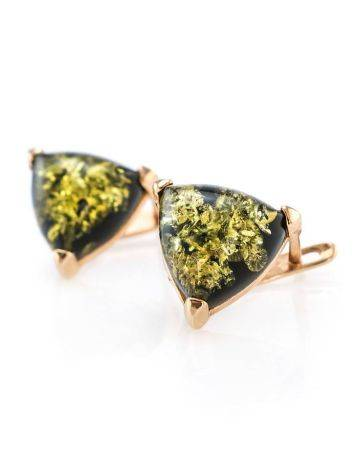 Casual Style Gold Plated Silver Earrings With Green Amber The Etude, image , picture 3