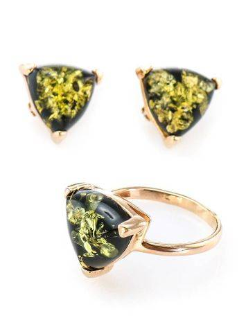 Casual Style Gold Plated Silver Earrings With Green Amber The Etude, image , picture 6