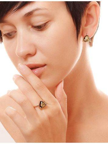 Casual Style Gold Plated Silver Earrings With Green Amber The Etude, image , picture 2