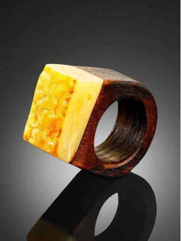 Ethnic Style Wooden Amber Ring The Indonesia, Ring Size: 4 / 15, image , picture 2