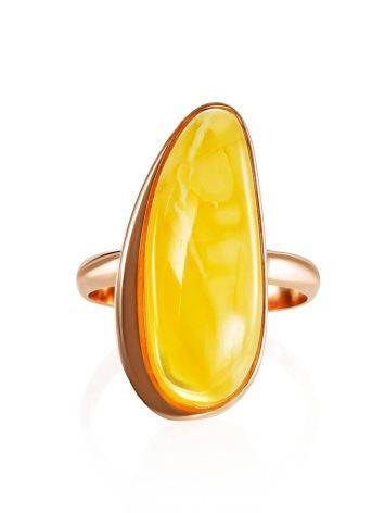 Gold Plated Silver Ring With Honey Amber The Glow, Ring Size: 8 / 18, image , picture 3