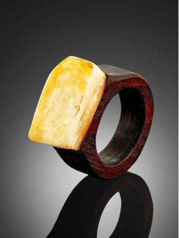 Ethnic Style Wooden Amber Ring The Indonesia, Ring Size: 6 / 16.5, image , picture 2