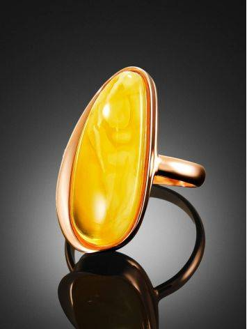 Gold Plated Silver Ring With Honey Amber The Glow, Ring Size: 8 / 18, image , picture 2
